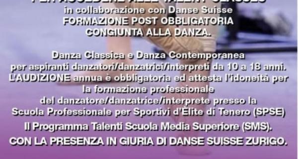 Audizione Danse Suisse Talent Classes